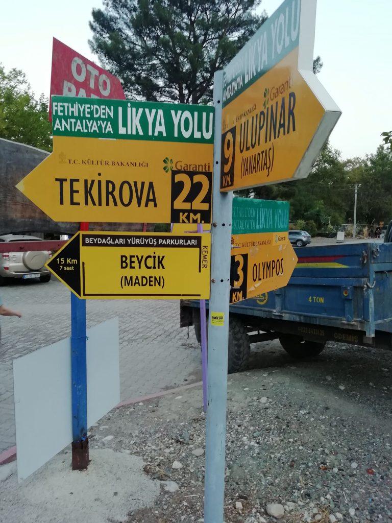 Lycian Way roadsign in Çıralı